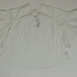 Lane Bryant Plus 24 White   Blouse Cotton Blend so